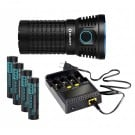 Olight X7 Marauder Flashlight XHP70 9000 lumens Kit (4 x Olight 18650 HDC batteries + Charger)